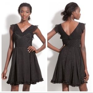 Anthropologie McGinn Dress Black Cindy Stripe 10